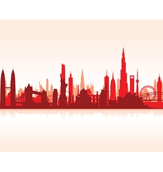 Cityscape red flat vector