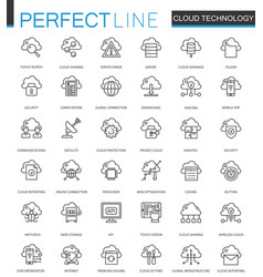 Cloud data technology services thin line web icons vector