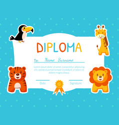 Colorful diploma template for kids with place for vector