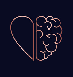 copper heart and brain concept vector image