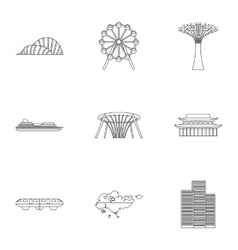 Country Singapore icons set outline style vector image