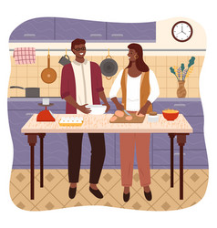 couple at home cooking man and woman in kitchen vector image