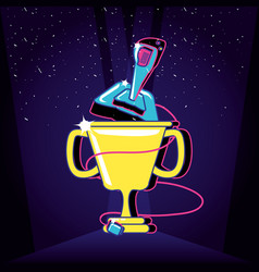 Cup trophy video gamer retro with joystick vector