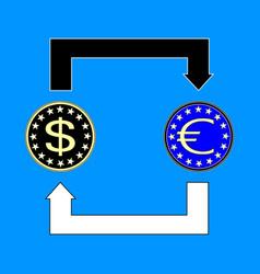 currency exchange symbols dollar euro signs vector image