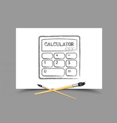 drawing calculator on white paper vector image