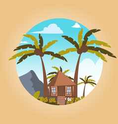 drawing image bungalow located island vector image