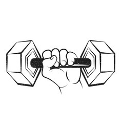 Dumbbell in the hand silhouette vector
