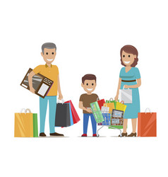 family making purchases in supermarket flat vector image vector image