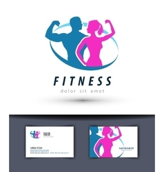 fitness logo design template gym or sport vector image