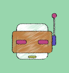 Flat shading style icon toy robot face vector