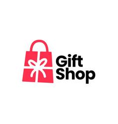 gift shop shopping bag logo icon vector image