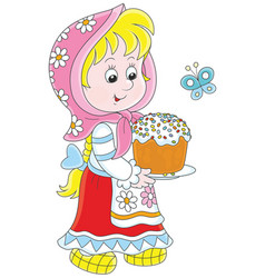 Girl with an easter cake vector