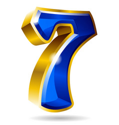 golden and blue number 7 isolated on white vector image