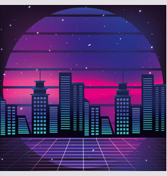 graphic city and geometric sun background vector image