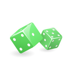 green dice 3d realistic casino gambling game vector image