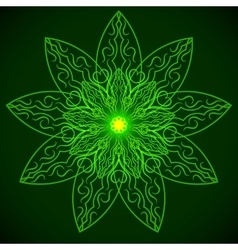 Green glowing mandala in the form of a lotus vector