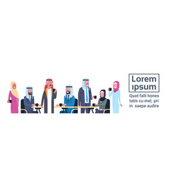 group of arabic business people drink tea or vector image