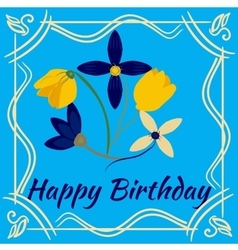 Happy birthday card with flower frame vector