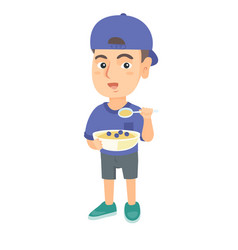happy boy holding a spoon and bowl of porridge vector image