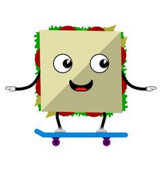 happy sandwich on a skateboard fast food vector image