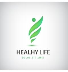 healthy life man eco leaves logo icon vector image
