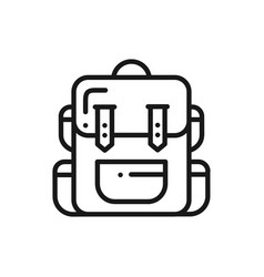 hiking backpack line icon touristic camping bag vector image