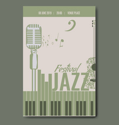 Jazz festival concert poster template design with vector