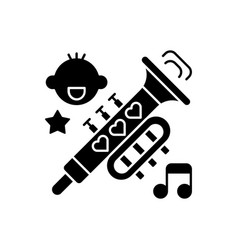 kid music black glyph icon vector image