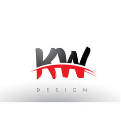 kw k w brush logo letters with red and black vector image