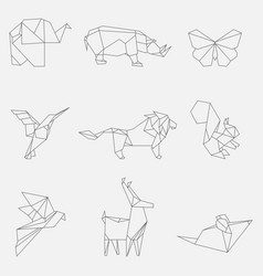 Line origami animals vector