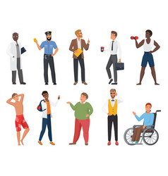 male characters set cartoon standing or walking vector image