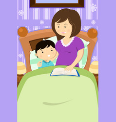 Mother reading a bedtime story vector