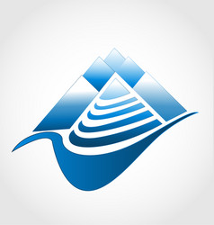moutain wilderness terrain logo symbol vector image