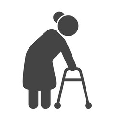 old person black icon retirement and senior man vector image