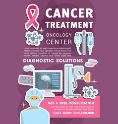 Oncology medicine poster with cancer chemotherapy vector