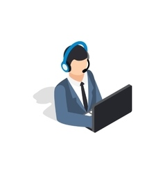 Online consultant icon isometric 3d style vector image