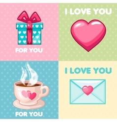 Pack of nice valentine greeting cards vector