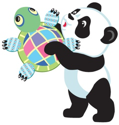 panda holding turtle toy vector image