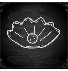 Pearl in a Shell Drawing on Chalk Board vector