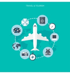 Plane iconworld travel concept background flat vector