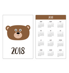 Pocket calendar 2018 year week starts sunday bear vector