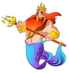 poseidon with a golden trident and a crown vector image