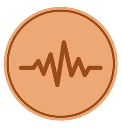 Pulse signal bronze coin vector