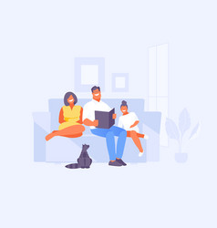 reading family on couch vector image