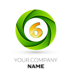 Realistic number six logo in the colorful circle vector
