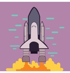 Rocket launch space shuttle take off flat line vector