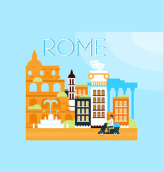 Rome travel landmarks city architecture vector