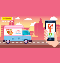 sea food delivery poster with commercial van vector image
