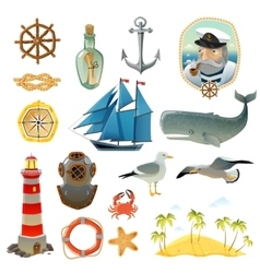 Sea Nautical Decorative Elements Set vector