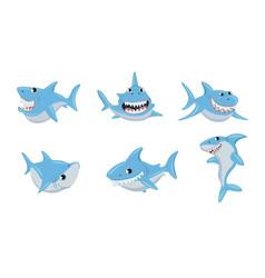 set cute blue shark cartoon characters vector image